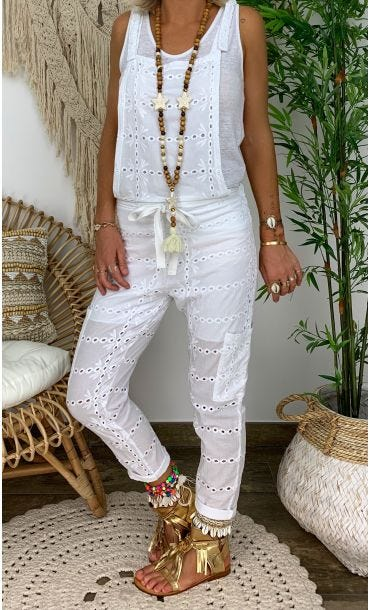 Combi Malory Broderie Blanc