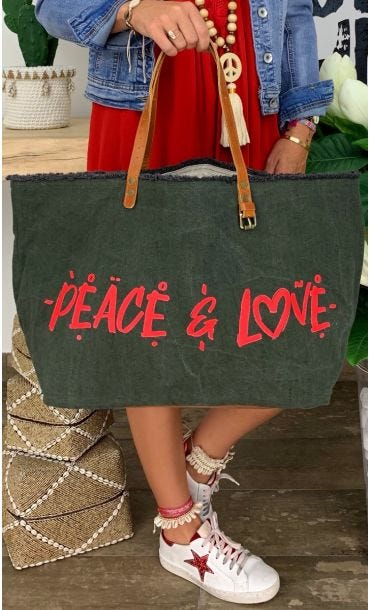 Cabas Penida Kaki Peace & Love Rouge