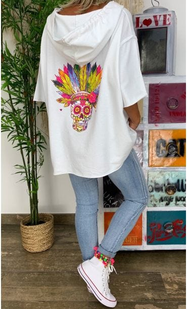 Sweat Fin Jimmy Blanc Indian Skull