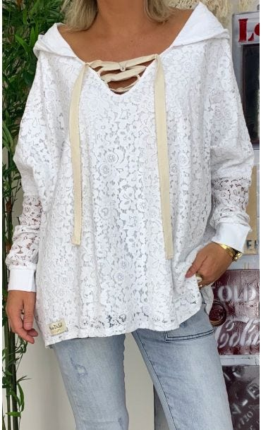 Sweat Fin Pharel Dentelle Blanc