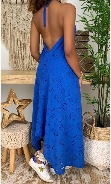 Robe Celeste Broderie Bleu Electrique